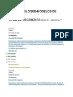 Modelos de Toma de Decisiones Examen 7