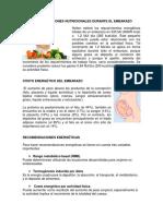 Recomendaciones Nutricionales Durante El Embarazo