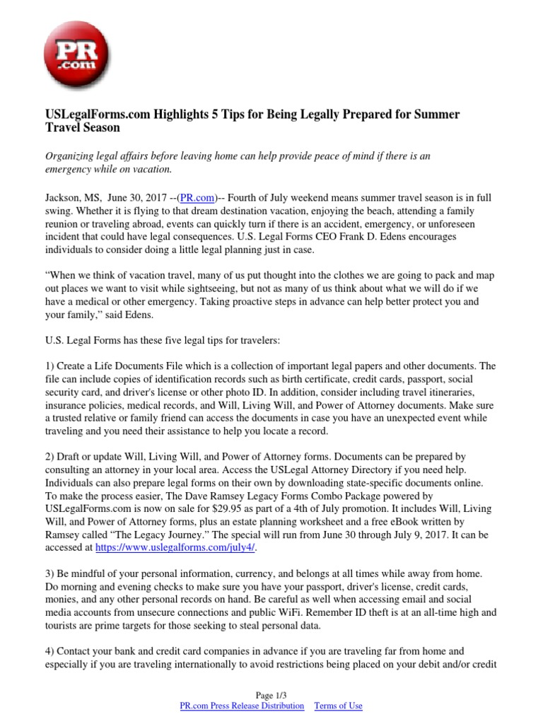 Uslegalforms Com Highlights 5 Tips For Being Legally Prepared For