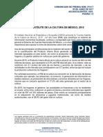 CUENTA SATÉLITE DE LA CULTURA DE MÉXICO, 2015