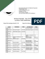 2018 exam calendar
