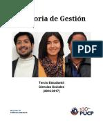 Memoria de Gestión - Tercio Estudiantil de Ciencias Sociales (2016-2017)