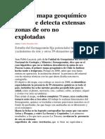 Primer Mapa Geoquímico de Chile Detecta Extensas Zonas de Oro No Explotadas