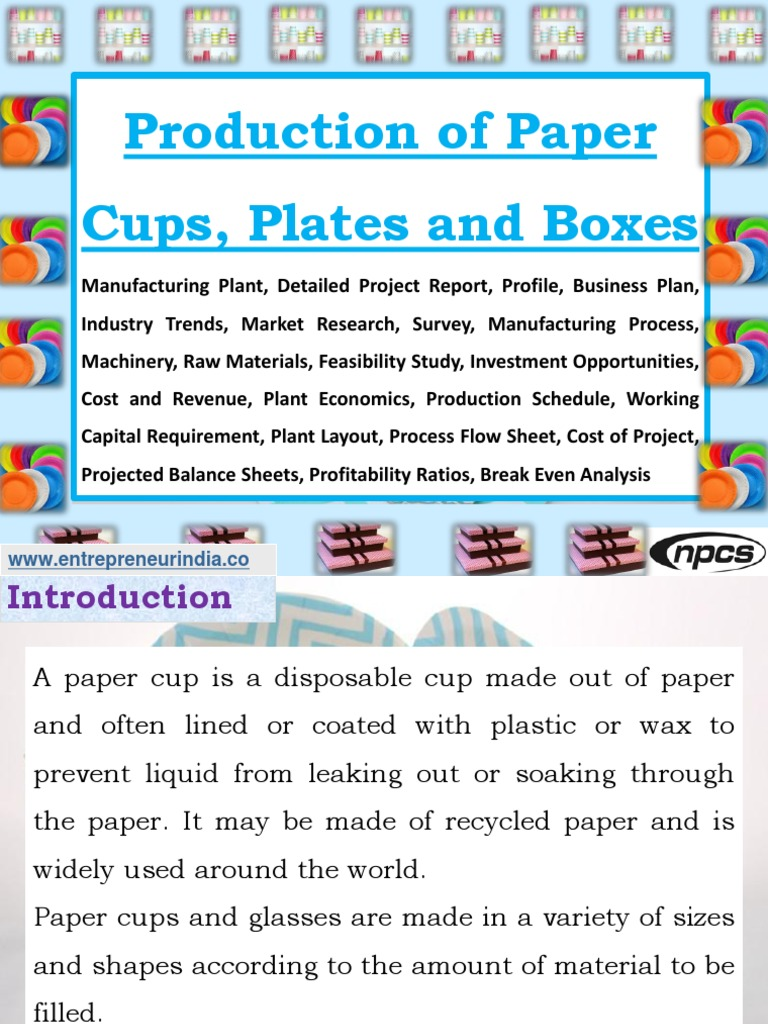 Business Plan Ppt For Paper Cup Manufacturing Machine