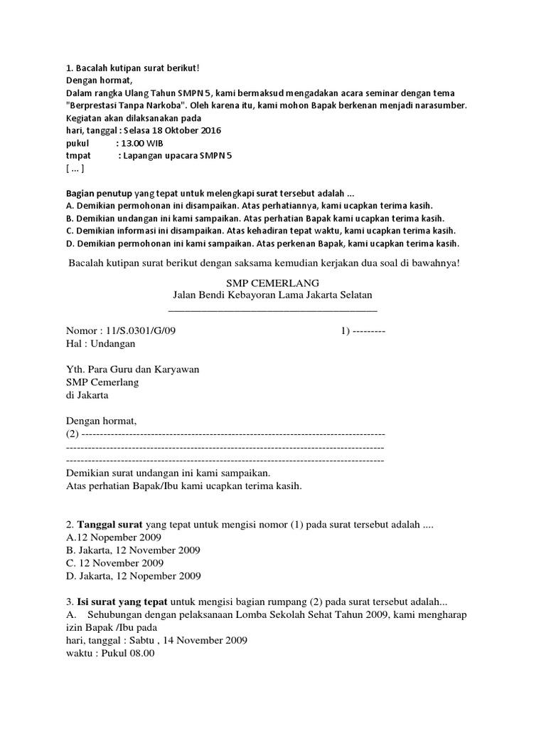 Soal Surat Pribadi Dan Surat Dinas Kelas 7 - Kumpulan ...