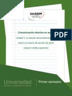Nces_u3 La Relación Del Profesional de La Salud y El Usuario de Servicio de Salud. La Relación Médico-paciente