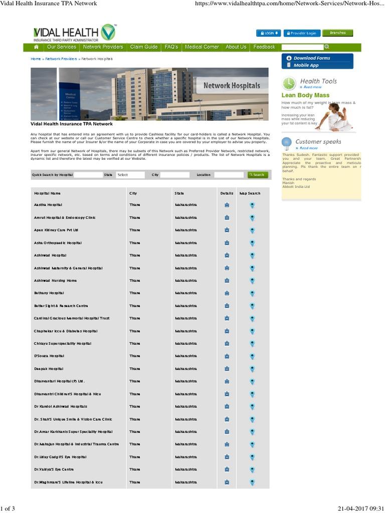 Vidal Health Insurance Tpa Network Pdf Hospital Health Care