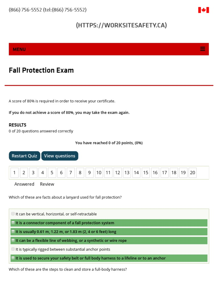 Fall Protection Exam _ Worksite Safety   Occupational Safety And ...
