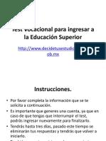 Test Vocacional Para Ingresar a La Educación Superior