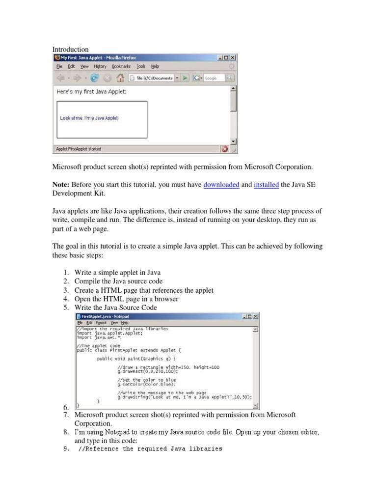 Java applets tutorial gallery any tutorial examples building a java applet java programming language web page baditri baditri Images
