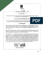 20170118 Decreto 020 Incremento Salarial Empleados Sector Central Bogota
