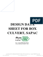 Design Data Sheet for Box Culvert