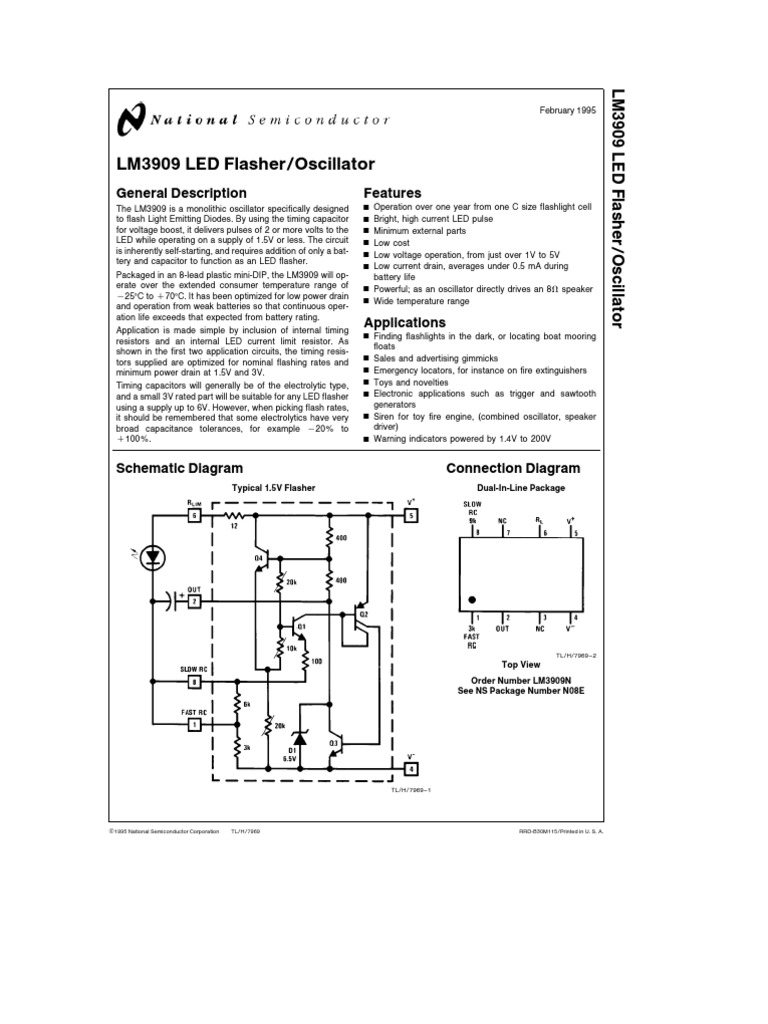 frequency generator circuit using lm3909 circuits t