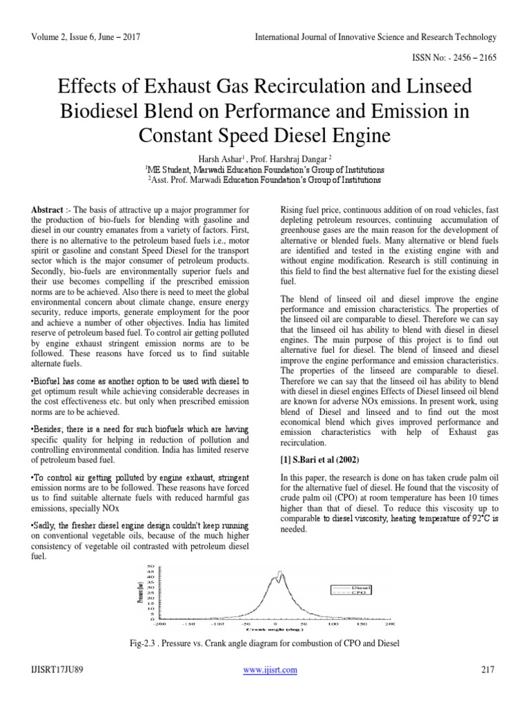 Effects of Exhaust Gas Recirculation and Linseed Biodiesel