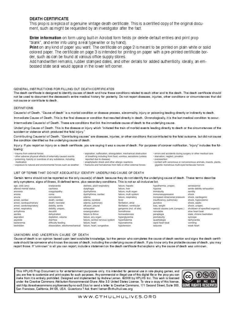 Deathcertificatepdf Death Certificate Shock Circulatory