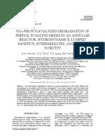 TiO2-PHOTOCATALYZED DEGRADATION OF PHENOL IN SALINE MEDIA IN AN ANNULAR REACTOR