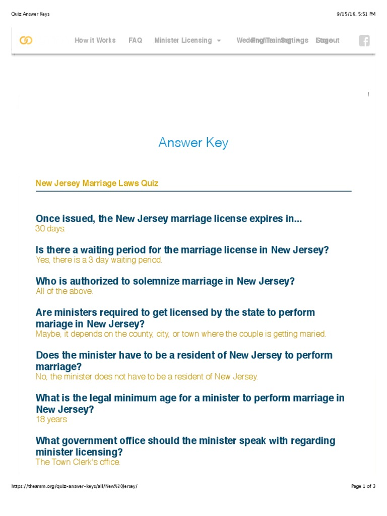 Quiz Answer Keys | Marriage License | Marriage