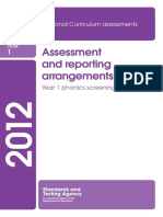 2012 Assessment and reporting arrangements year 1 phonics screening check.pdf