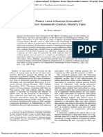 How Do Law Influence Patent Innovation an Experienceformthe Nineteenth Century World's Affairs