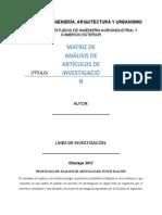 Matriz de Análisis de Artículos de Investigación