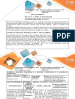 Guía de Actividades y Rúbrica de Evaluación Paso 2. Diagnóstico e Identificación de La Necesidad de Investigación