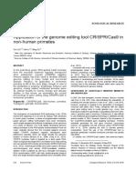 Application of the Genome Editing Tool CRISPR-Cas9 in Non-human Primates
