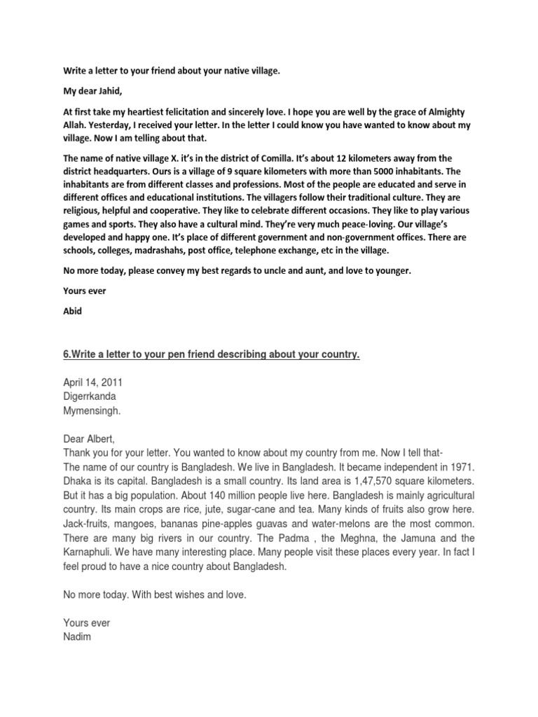 a letter to a friend abot differences of city and village life 50 letters - download as word (54) write a letter to your friend telling him about your daily life i know there is a lot of difference between classes x and.