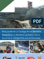 Evaluación de la Calidad de los Recursos Hídricos en la Provincia de Pasco y de la Salud en en Centro Poblado de Paragsha