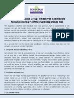 Donavan Insurance Group - Vinden Van Goedkopere Autoverzekering Met Onze Geldbesparende Tips