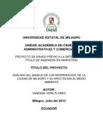 ANÁLISIS DEL MANEJO DE LOS DESPERDICIOS  DE LA CIUDAD DE MILAGRO Y SU AFECTACION AL MEDIO AMBIENTE.pdf