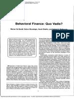 Behavioural Finance - Quo Vadis