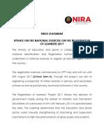 Uganda NIRA Press Statement on Registration of Learners
