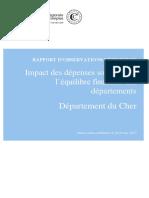 Rapport de la chambre régionale des comptes sur les finances du département du Cher
