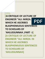 A CRITIQUE OF A LECTURE OF ALI MIRZA IN WHICH HE ASCRIBED BLASPHEMOUS SENTENCES TO SUNNI SCHOLARS