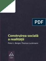 Peter L. Berger, Thomas Luckmann Construirea Socială a Realităţii