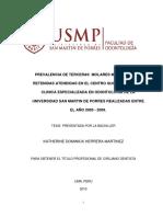 Herrera M. 2010. Prevalencia de Terceras Molares Mandibulares Retenidas Atendidas en El Centro Quirurgico de La Clinica