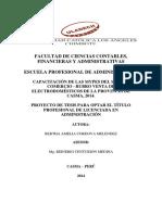 Capacitación de Las Mypes Del Sector Comercio - Rubro Venta de Electrodomésticos de La Provincia de Casma, 2014