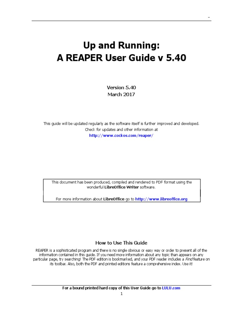 Reaper User Guide 540 c | Portable Document Format