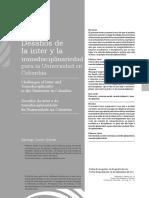 Desafíos de La Inter y La Transdisciplinariedad Para La Universidad en Colombia