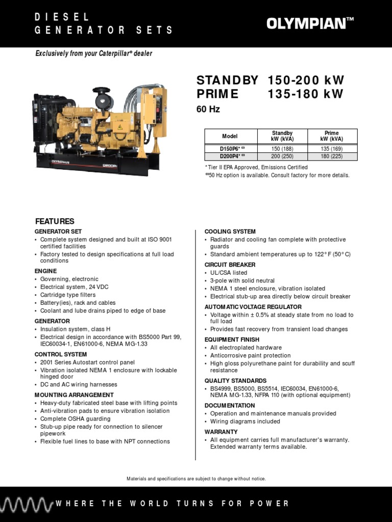 Catalogo Generador Olimpian 150 200 Kwpdf Radiator Electricity Olympian Genset Wiring Diagram