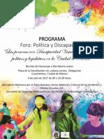 Programa preliminar Foro Política y Discapacidad