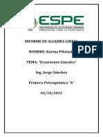 Informe de Algebra Lineal