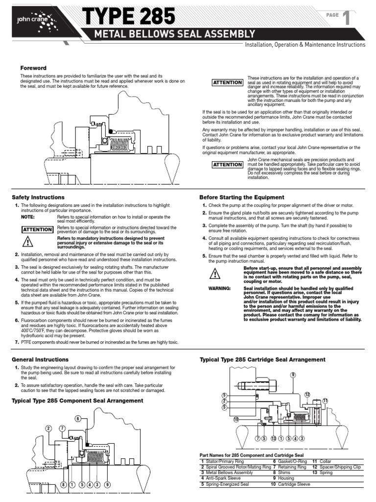 Metal Bellow Seal Installation | Pump | Screw
