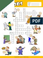 Jobs Esl Vocabulary Crossword Puzzle Worksheet for Kids