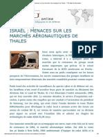 Israël _ Menaces Sur Les Marchés Aéronautiques de Thales - TTU Lettre d'Information