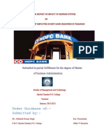 Reseach Report on Impact of Reward System on Motivational Level of Employee in Hdfc Bank Branch in Varanasi