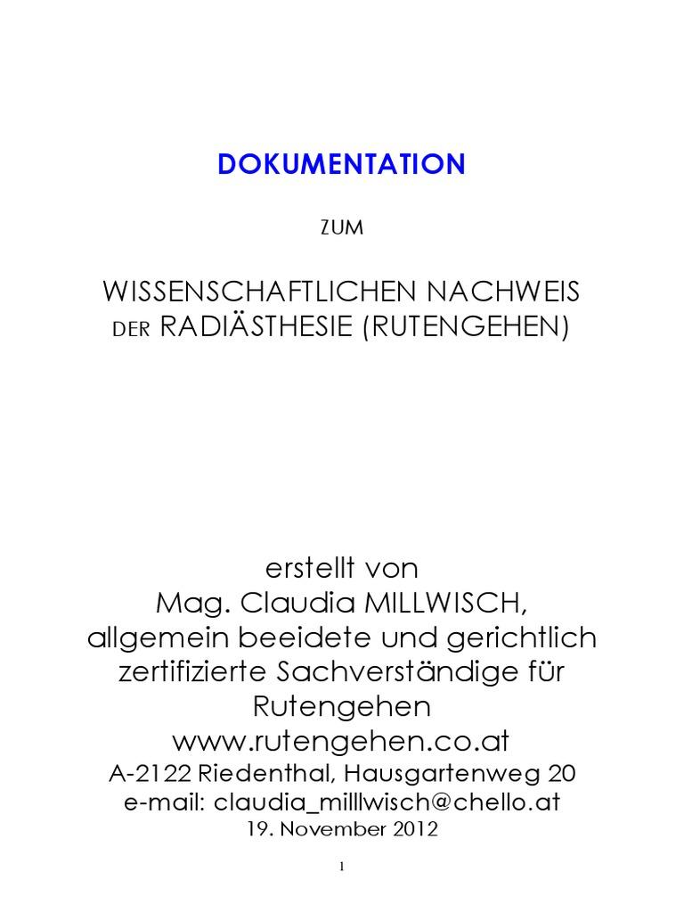 114DOKUMENTATION Wissenschaftlicher Nachweis Der Radiasthesie Fr.mag ...