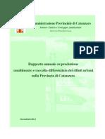 Rapporto Annuale Produzione Smaltimento e Raccolta Differenziata Rifiuti Cz