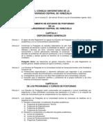 Reglamento de Estudios de Postgrado de La Ucv UCV (UNIVERSIDAD CENTRAL de VENEZUELA)