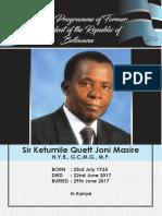 Masire Funeral Programme